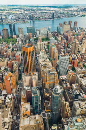 Photo  New York City Skyline Aerial View, Beautiful Cloudy Blue Sky Background, Vertica