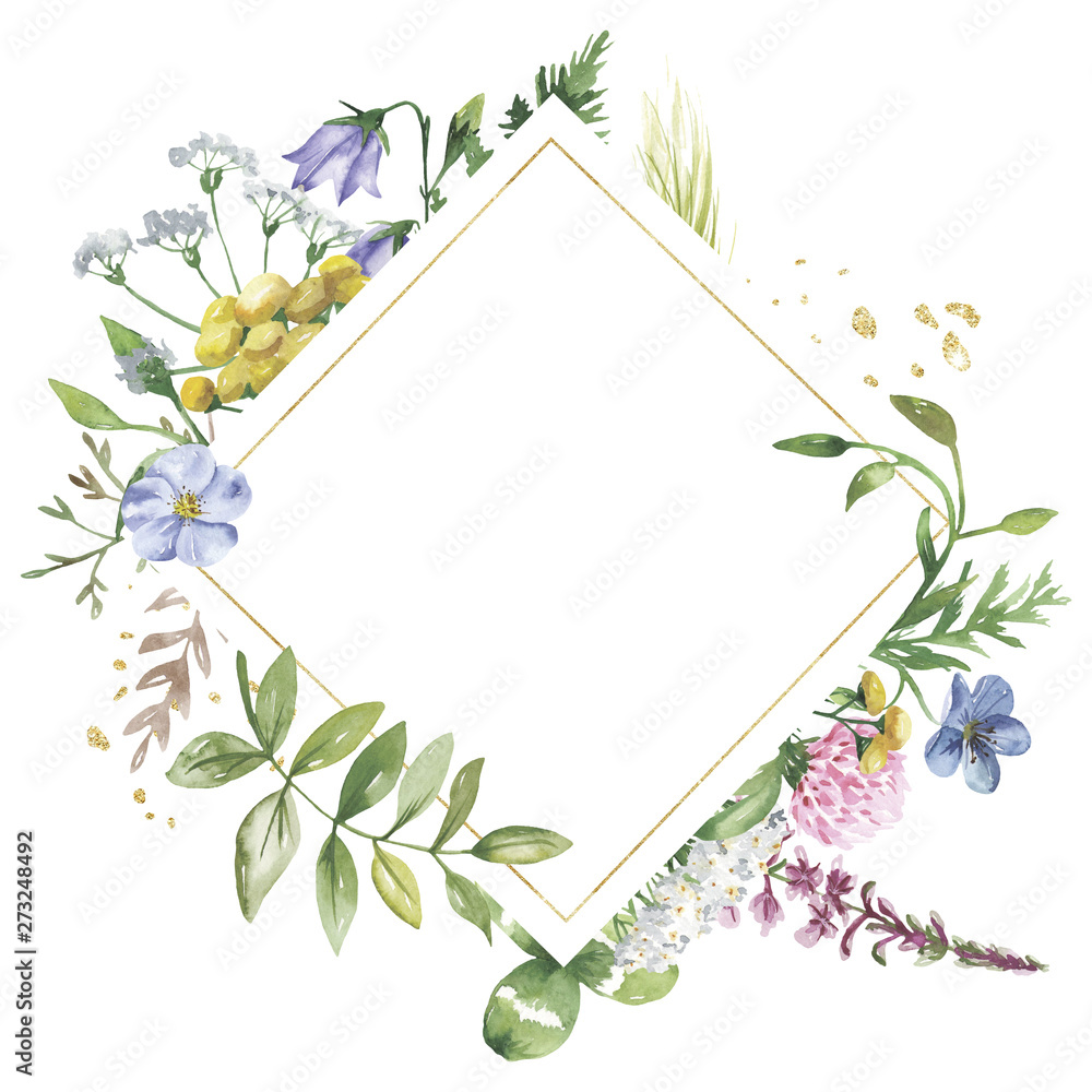 Fototapety, obrazy: Golden geometric frame with watercolor wildflowers. Template for the text in the form of a square, heart, circle, rhombus. Great for cards, invitations, greeting cards, weddings, quotes, patterns, bou