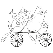 Cats Riding A Bicycle Flat Ill...
