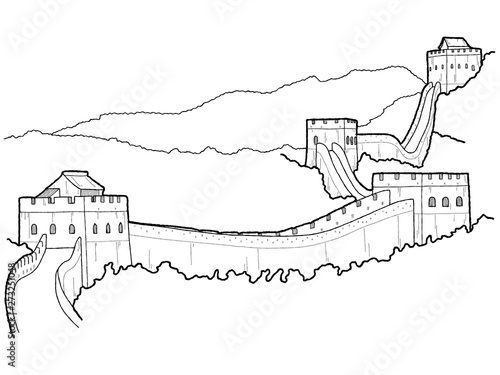 Fotografia, Obraz Great Wall of China, China: Vector Illustration Hand Drawn Cartoon Art
