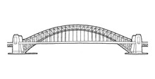 Sydney Harbor Bridge, Sydney, Australia: Landmark Vector Illustration Hand Drawn Cartoon Art
