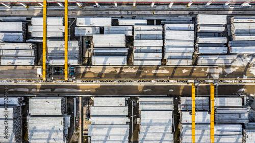 Aerial view precast concrete plant, Precast reinforced concrete