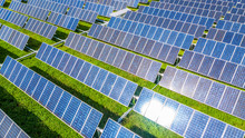 Solar Panels In Aerial View, A...