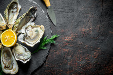 Raw Oysters On A Round Stone B...