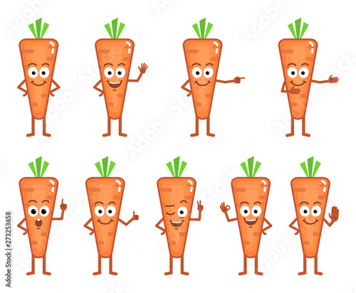 Vector illustration of a cartoon carrot character showing different hand gesture Canvas Print