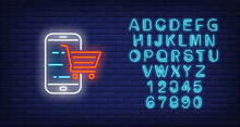 Smartphone And Shopping Cart Neon Sign. Technology And Digital Device Design. Night Bright Neon Sign, Colorful Billboard, Light Banner. Vector Illustration In Neon Style.