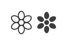 Flowers Icon Vector Lines And Filled On White Background.