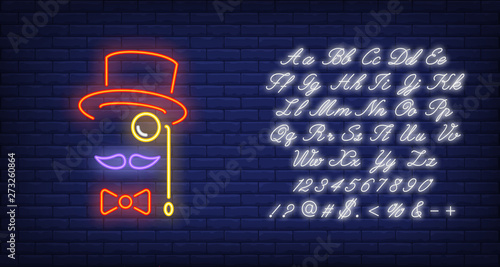Fototapeta Hat, moustache, bow tie and monocle neon sign