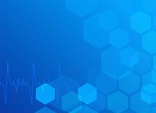 Stylish Blue Medical Backgorund With Hexagonal Pattern