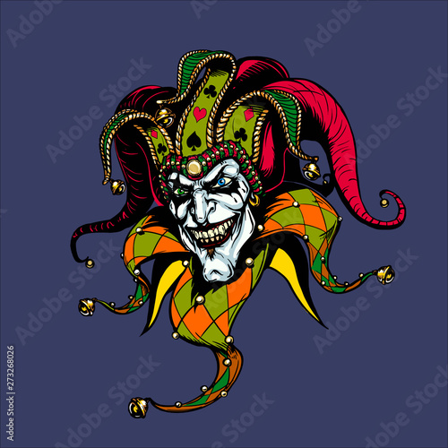 Joker. Angry jester in the cap. tattoo Canvas Print