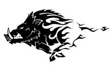 Wild Boar Flame, Abstract Illu...