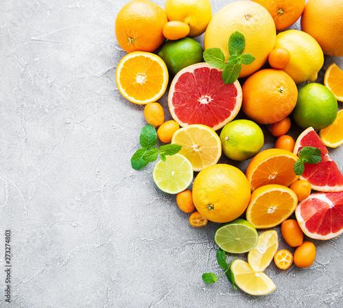 Stampa su Tela Fresh citrus fruits