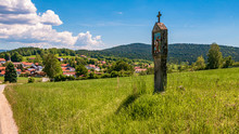 Beautiful View With A Wayside Cross Near Wettzell - Bavarian Forest - Bavaria - Germany