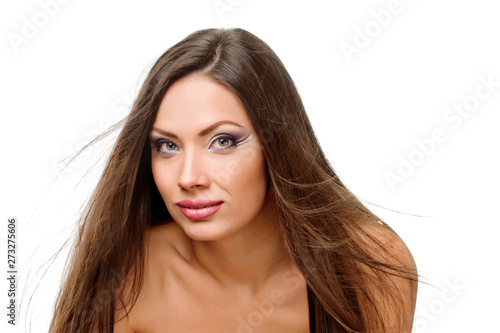 woman with straight long hair and clean skin - white background