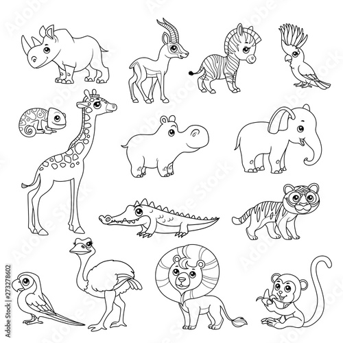 Sea Animals. Black And White Coloring Book Page Royalty Free Cliparts,  Vectors, And Stock Illustration. Image 74486464. | 500x500