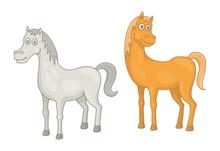 Set Of Horses. Isolated On White Background