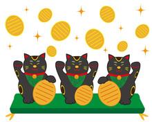 猫 招き猫 小判 黒猫