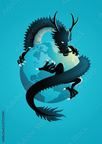 Photo Chinese dragon encircling the world