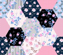 Beautiful Seamless Patchwork Pattern With Rose Flowers And Polka Dot. Floral Quilt Design.