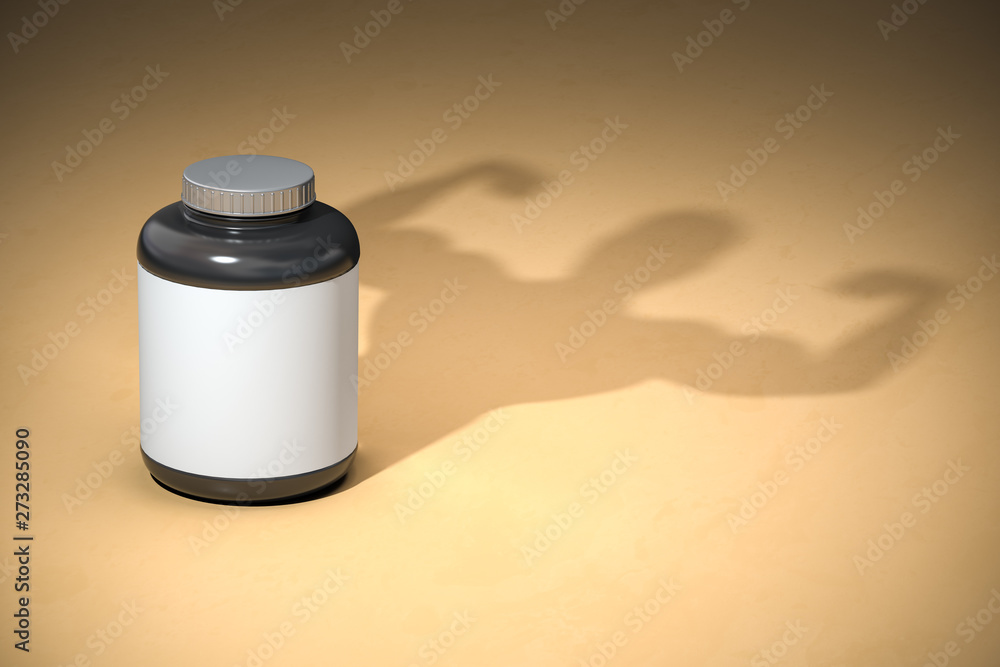 Fototapety, obrazy: Sports  nutrition supplements for bodibuilding. Whey protein with a shadow of bodibuilder.