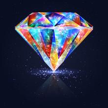 Bright Glowing Colorful Gemstone Quartz.