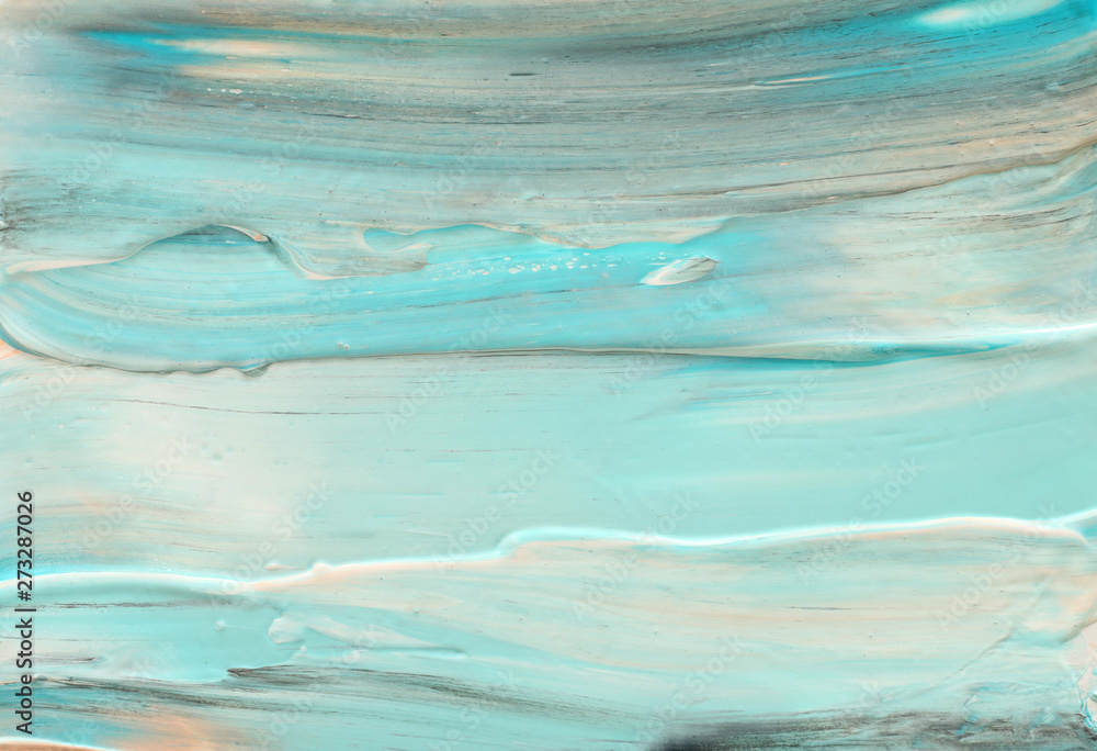 Fototapety, obrazy: photography of abstract marbleized effect background. Blue, mint and white creative colors. Beautiful paint