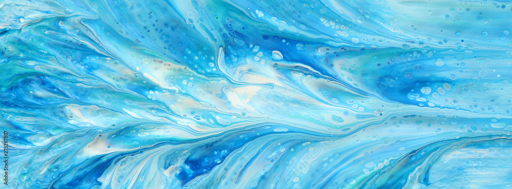 Fototapety, obrazy: photography of abstract marbleized effect background. Blue, mint and white creative colors. Beautiful paint. banner