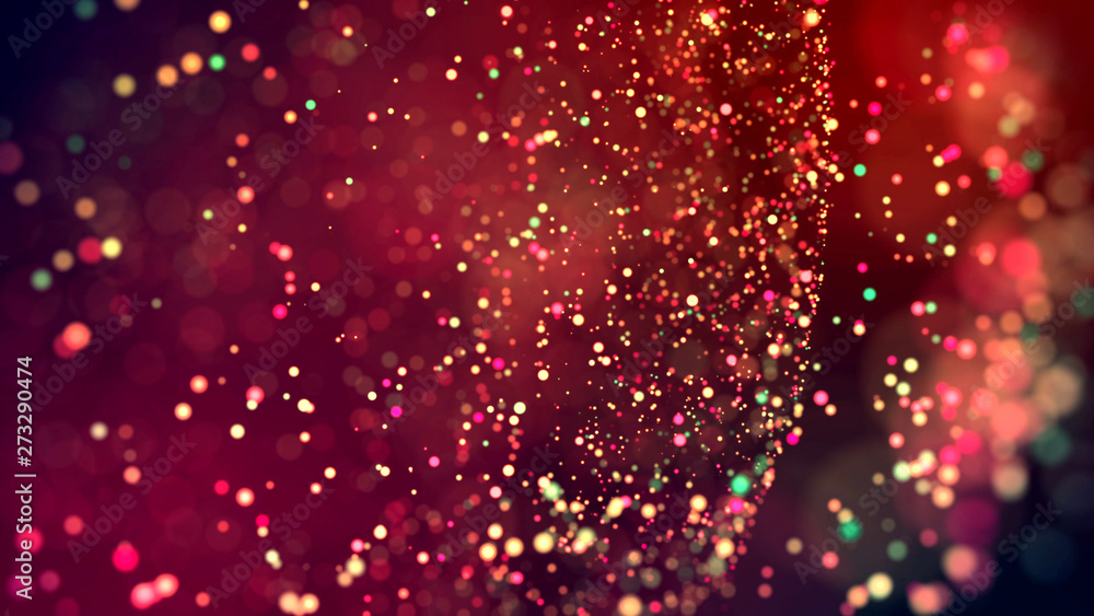 Fototapety, obrazy: cloud of multicolored particles in the air like sparkles on a dark background with depth of field. beautiful bokeh light effects with colored particles. background for holiday presentations. 57