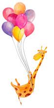 Cute Watercolor Giraffe Flying...