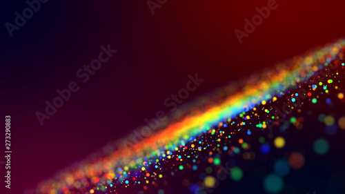 Tela  cloud of multicolored particles in the air like sparkles on a dark background with depth of field