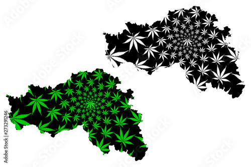 Belgorod Oblast (Russia, Subjects of the Russian Federation, Oblasts of Russia) map is designed cannabis leaf green and black, Belgorod Oblast map made of marijuana (marihuana,THC) foliage, Wallpaper Mural