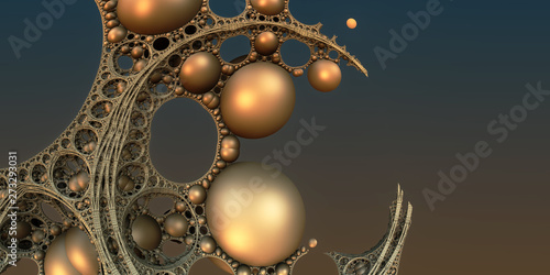 Photo Stands Fractal waves Abstract background, fantastic 3D gold structures.