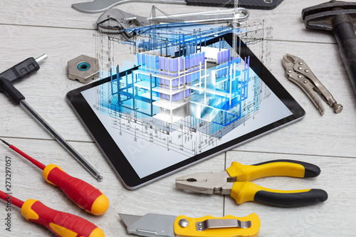 Poster Fleur Tablet with construction tools and 3d house plan concept