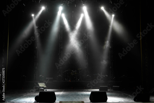Obraz scene, stage light with colored spotlights and smoke - fototapety do salonu