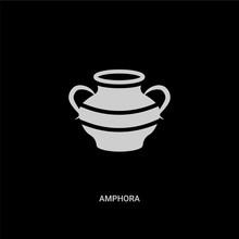 White Amphora Vector Icon On B...