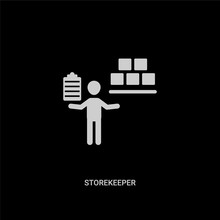 White Storekeeper Vector Icon On Black Background. Modern Flat Storekeeper From Humans Concept Vector Sign Symbol Can Be Use For Web, Mobile And Logo.