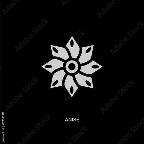 white anise vector icon on black background Canvas Print
