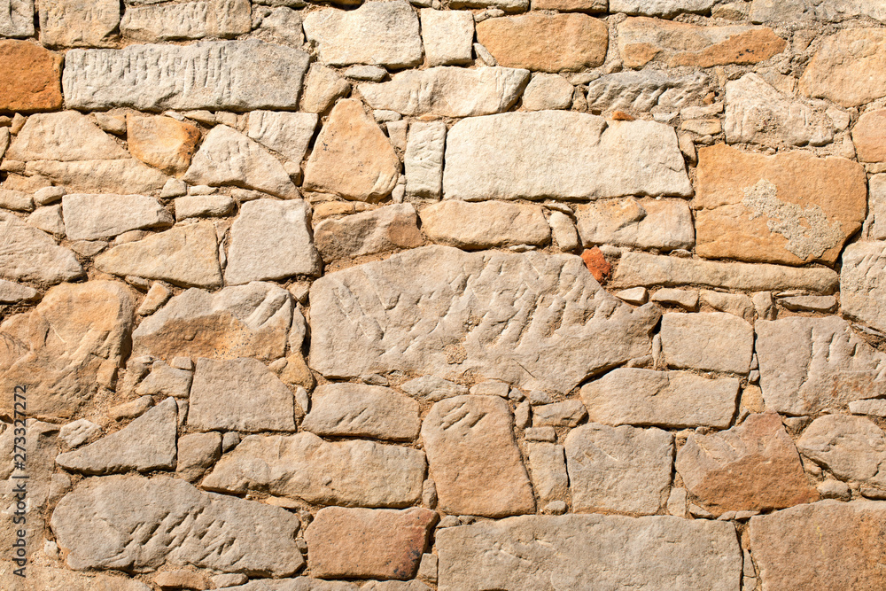 Stone wall background, textured pattern. Old, german architecture in Lower Silesia, Poland.