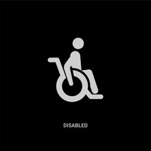 White Disabled Vector Icon On ...