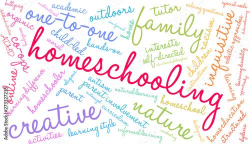 Valokuvatapetti Homeschooling Word Cloud on a white background.