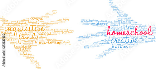 Homeschool Word Cloud on a white background. Tapéta, Fotótapéta