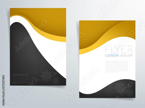Poster Abstract wave Yellow header brochure template vector design