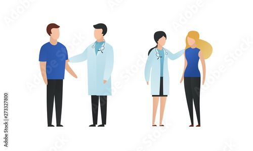 Fotografia Trendy flat doctor and patient character vector cartoon illustration