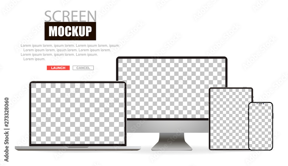 Fototapety, obrazy: Mockup realistic device. Set of laptop, tablet, computer and phone. Vector