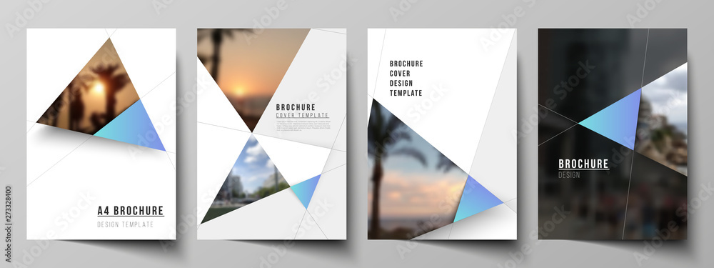 Fototapety, obrazy: The vector layout of A4 format modern cover mockups design templates for brochure, magazine, flyer, booklet, report. Creative modern background with blue triangles and triangular shapes. Simple design