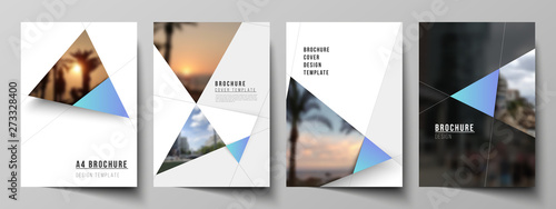Fototapeta The vector layout of A4 format modern cover mockups design templates for brochure, magazine, flyer, booklet, report. Creative modern background with blue triangles and triangular shapes. Simple design obraz