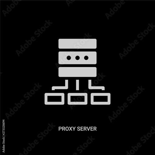 white proxy server vector icon on black background  modern