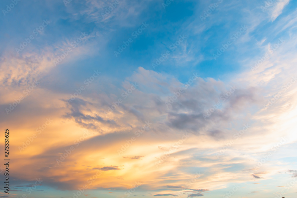 Fototapety, obrazy: Sky and cloud at sunset with sunset light effects background. clouds twilight and dramatic sky background.