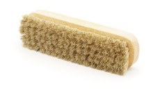 Horsehair Brush On White Background. Leather Shoe Polishing. Cleaning. Wax