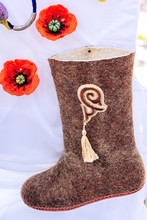 Shoes Made Of Felt With A Kazakh National Ornament. Hand Maid. Exhibition Of Handmade Products.